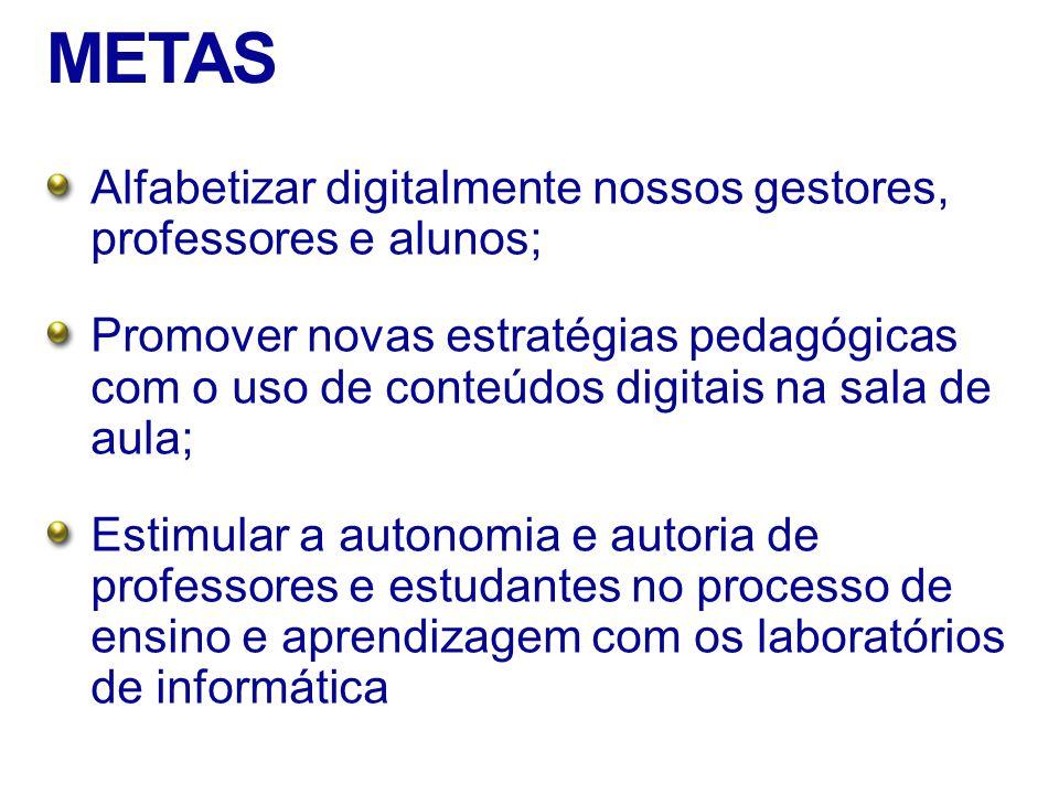 METAS Alfabetizar digitalmente nossos gestores, professores e alunos; Promover novas estratégias pedagógicas com o uso de conteúdos digitais na sala de aula; Estimular a autonomia e autoria de professores e estudantes no processo de ensino e aprendizagem com os laboratórios de informática