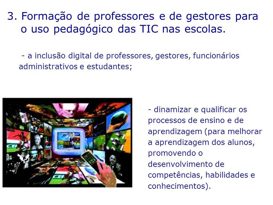 3.Formação de professores e de gestores para o uso pedagógico das TIC nas escolas.