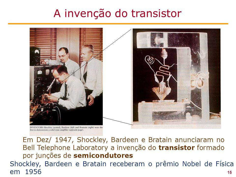 Em Dez/ 1947, Shockley, Bardeen e Bratain anunciaram no Bell Telephone Laboratory a invenção do transistor formado por junções de semicondutores Shockley, Bardeen e Bratain receberam o prêmio Nobel de Física em 1956 15 A invenção do transistor
