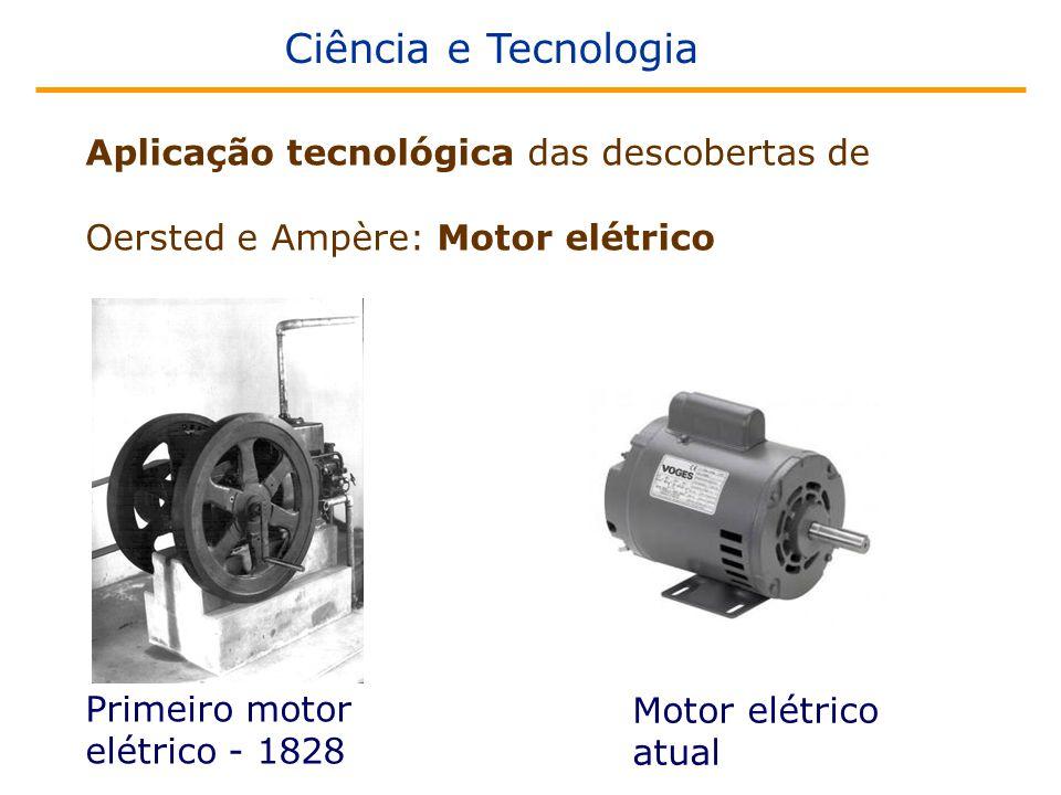 Ciência e Tecnologia Aplicação tecnológica das descobertas de Oersted e Ampère: Motor elétrico Primeiro motor elétrico - 1828 Motor elétrico atual
