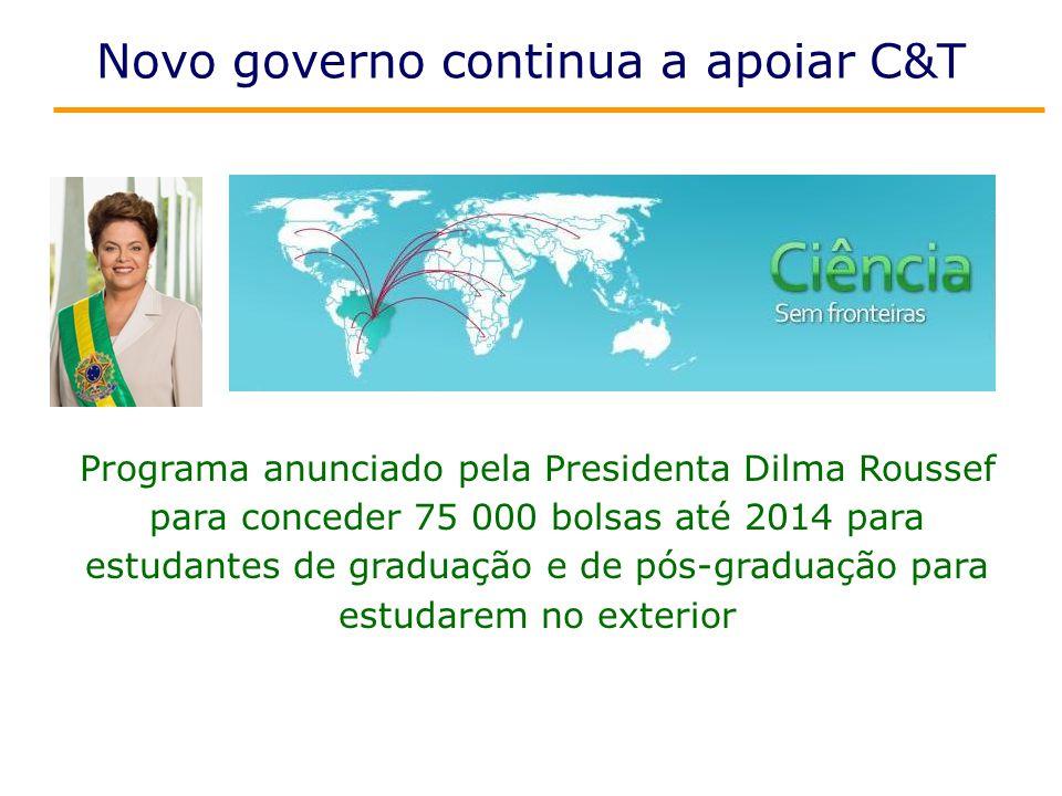 Novo governo continua a apoiar C&T Programa anunciado pela Presidenta Dilma Roussef para conceder 75 000 bolsas até 2014 para estudantes de graduação e de pós-graduação para estudarem no exterior
