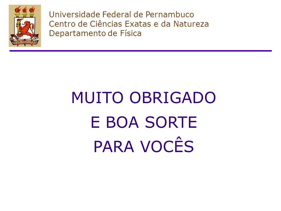 Universidade Federal de Pernambuco Centro de Ciências Exatas e da Natureza Departamento de Física MUITO OBRIGADO E BOA SORTE PARA VOCÊS
