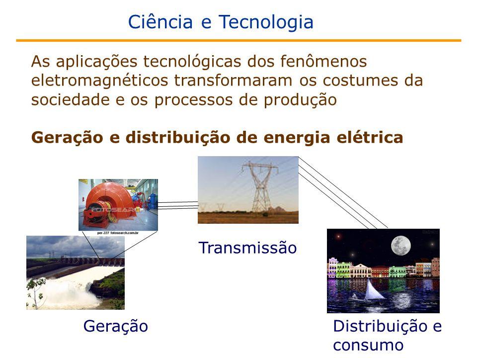 Ciência e Tecnologia As aplicações tecnológicas dos fenômenos eletromagnéticos transformaram os costumes da sociedade e os processos de produção Geração e distribuição de energia elétrica Geração Transmissão Distribuição e consumo