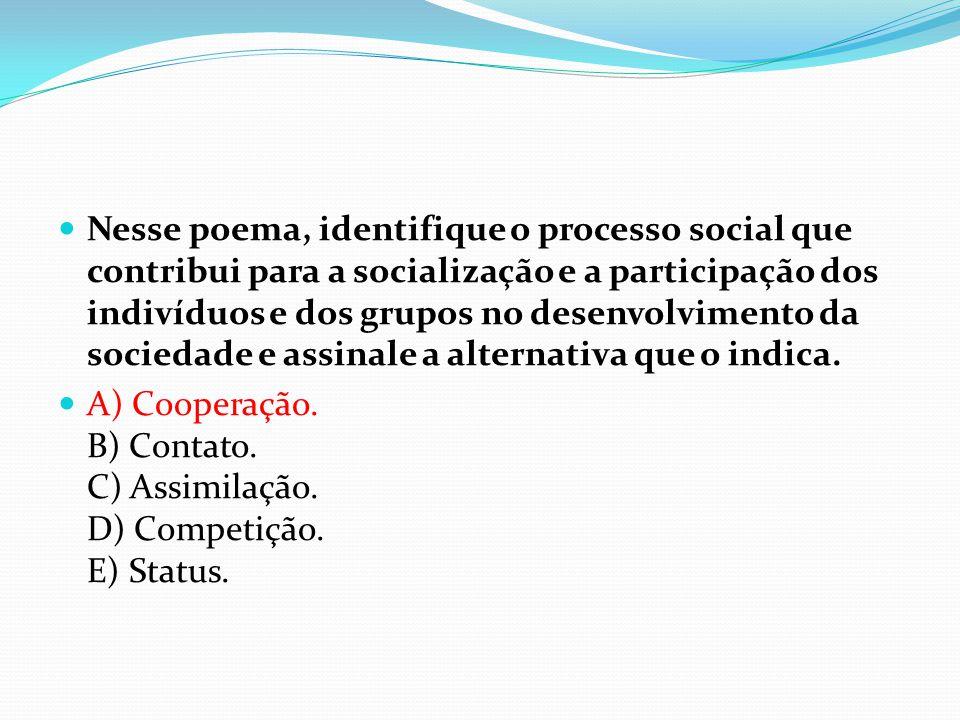  Nesse poema, identifique o processo social que contribui para a socialização e a participação dos indivíduos e dos grupos no desenvolvimento da soci