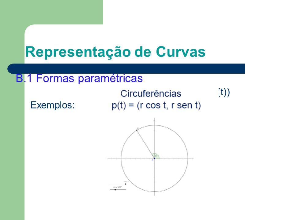 B.1 Formas paramétricas P(t) = (x(t), y(t)) Exemplos: Representação de Curvas