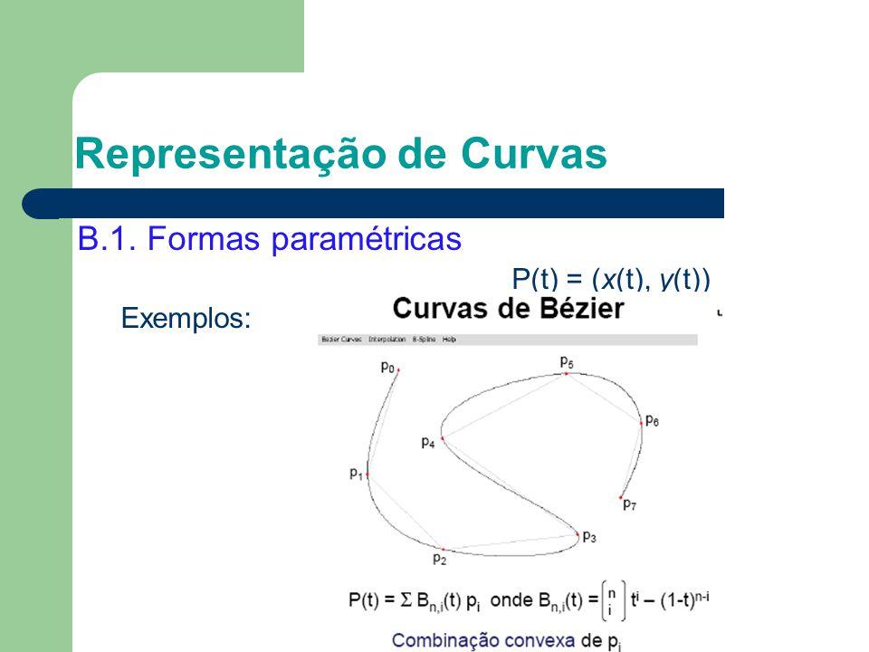 B.1. Formas paramétricas P(t) = (x(t), y(t)) Exemplos: Representação de Curvas