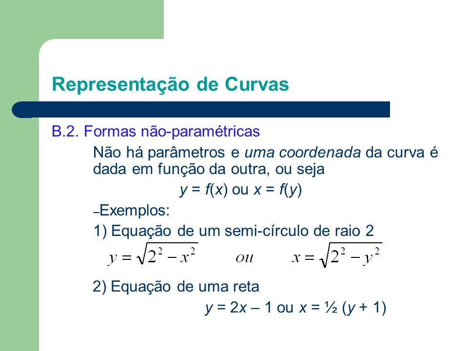 B.2. Formas não-paramétricas Não há parâmetros e uma coordenada da curva é dada em função da outra, ou seja y = f(x) ou x = f(y) – Exemplos: 1) Equaçã