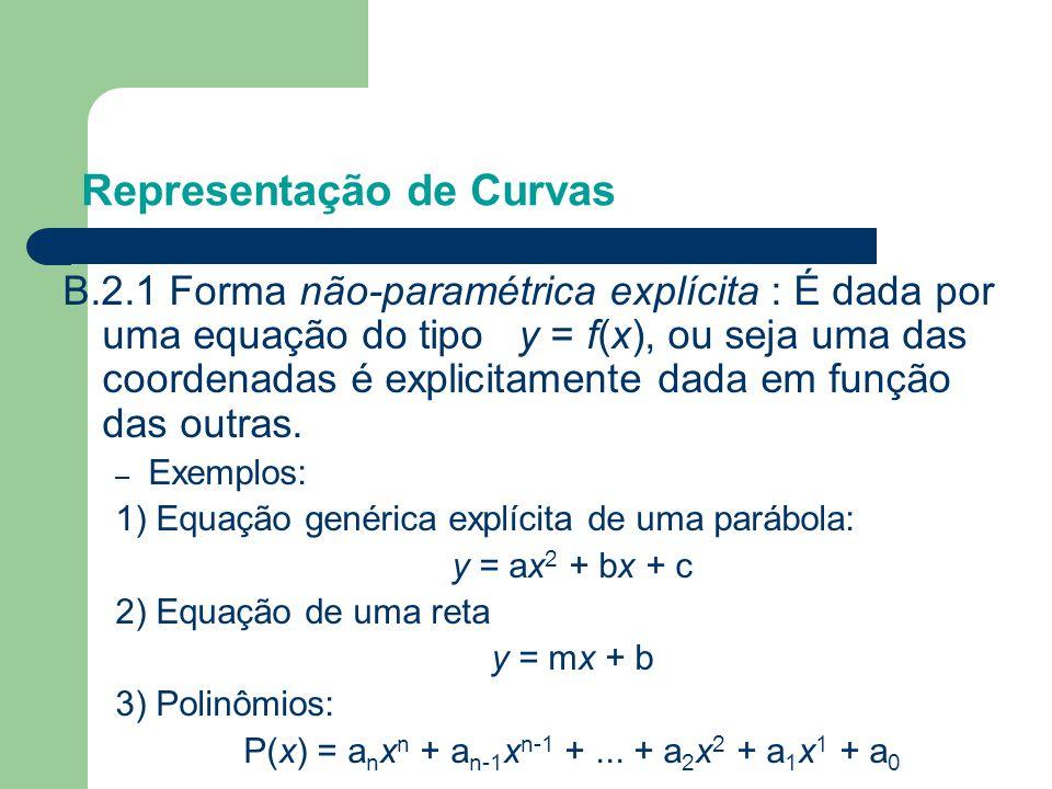 Representação de Curvas B.2.1 Forma não-paramétrica explícita : É dada por uma equação do tipo y = f(x), ou seja uma das coordenadas é explicitamente