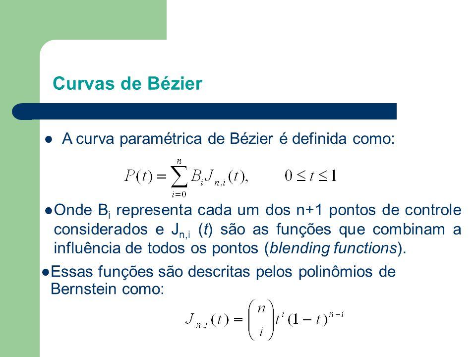 Curvas de Bézier  Onde B i representa cada um dos n+1 pontos de controle considerados e J n,i (t) são as funções que combinam a influência de todos o