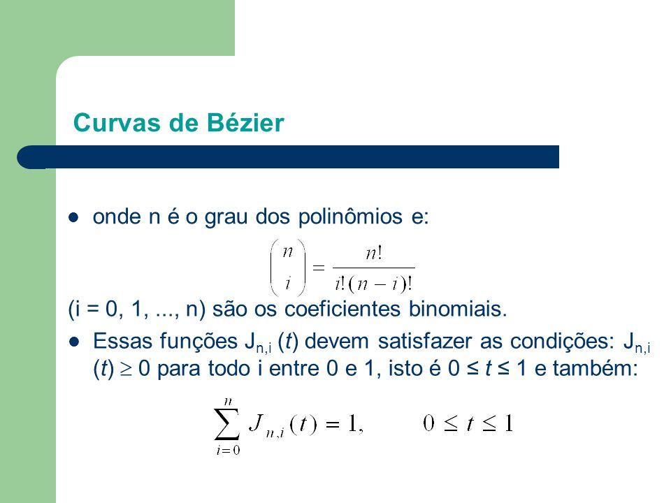 Curvas de Bézier (i = 0, 1,..., n) são os coeficientes binomiais.  Essas funções J n,i (t) devem satisfazer as condições: J n,i (t)  0 para todo i e