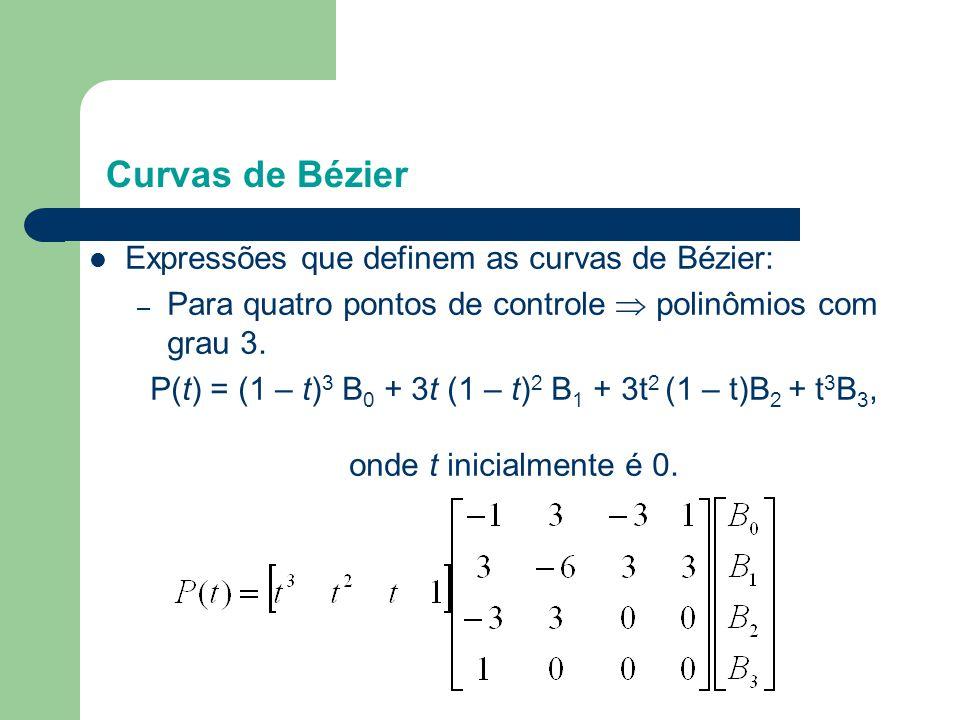 Curvas de Bézier  Expressões que definem as curvas de Bézier: – Para quatro pontos de controle  polinômios com grau 3. P(t) = (1 – t) 3 B 0 + 3t (1