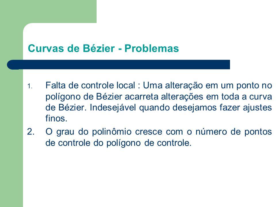 1. Falta de controle local : Uma alteração em um ponto no polígono de Bézier acarreta alterações em toda a curva de Bézier. Indesejável quando desejam