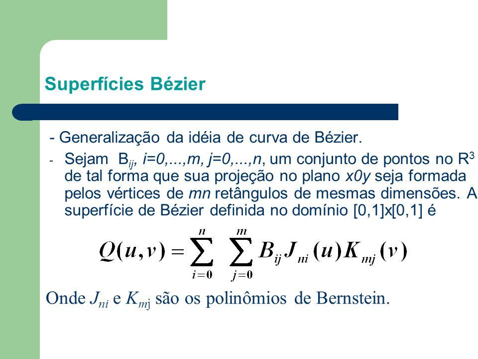 - Generalização da idéia de curva de Bézier. - Sejam B ij, i=0,...,m, j=0,...,n, um conjunto de pontos no R 3 de tal forma que sua projeção no plano x