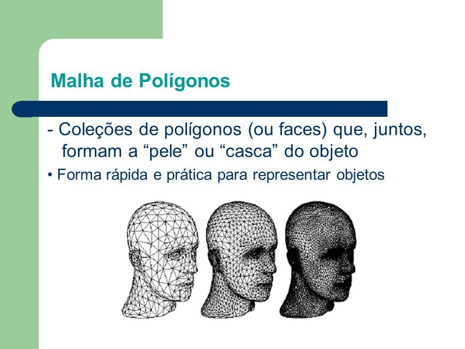 """- Coleções de polígonos (ou faces) que, juntos, formam a """"pele"""" ou """"casca"""" do objeto • Forma rápida e prática para representar objetos Malha de Polígo"""