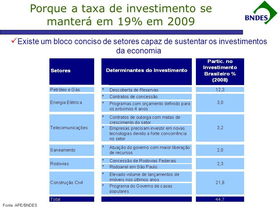 Porque a taxa de investimento se manterá em 19% em 2009  Existe um bloco conciso de setores capaz de sustentar os investimentos da economia Fonte: APE/BNDES