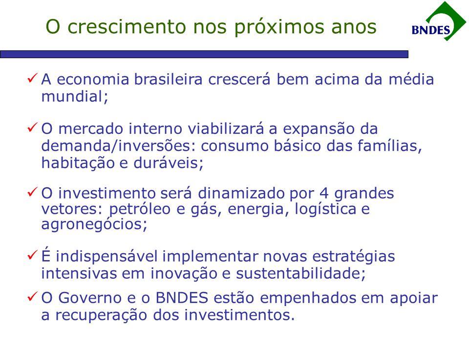 O crescimento nos próximos anos  A economia brasileira crescerá bem acima da média mundial;  O mercado interno viabilizará a expansão da demanda/inversões: consumo básico das famílias, habitação e duráveis;  O investimento será dinamizado por 4 grandes vetores: petróleo e gás, energia, logística e agronegócios;  É indispensável implementar novas estratégias intensivas em inovação e sustentabilidade;  O Governo e o BNDES estão empenhados em apoiar a recuperação dos investimentos.