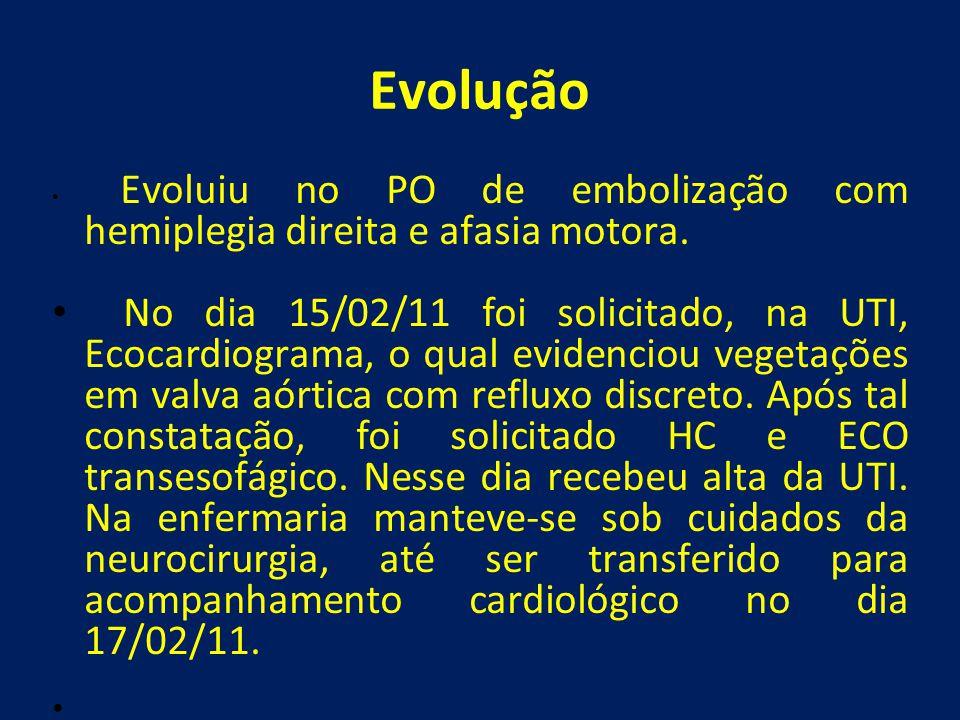 Evolução • Evoluiu no PO de embolização com hemiplegia direita e afasia motora. • No dia 15/02/11 foi solicitado, na UTI, Ecocardiograma, o qual evide