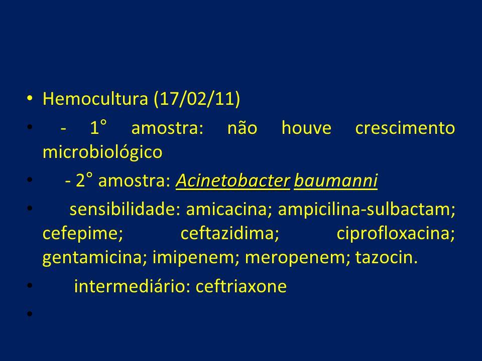 • Hemocultura (17/02/11) • - 1° amostra: não houve crescimento microbiológico Acinetobacter • - 2° amostra: Acinetobacter baumanni • sensibilidade: am
