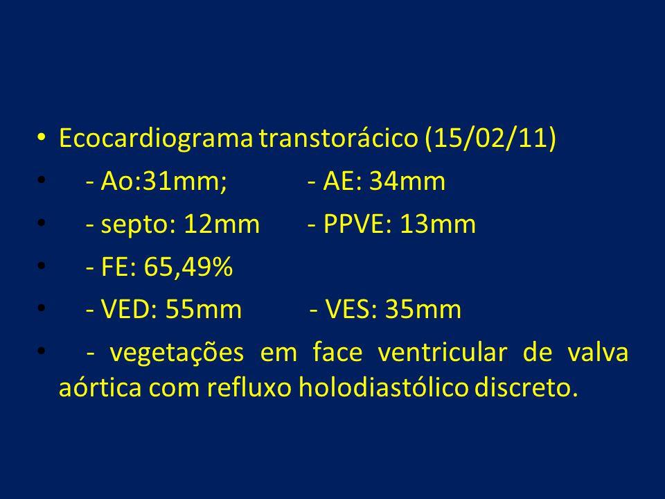 • Ecocardiograma transtorácico (15/02/11) • - Ao:31mm; - AE: 34mm • - septo: 12mm - PPVE: 13mm • - FE: 65,49% • - VED: 55mm - VES: 35mm • - vegetações