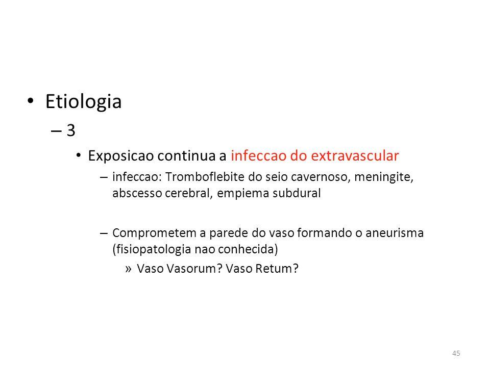 45 • Etiologia – 3 • Exposicao continua a infeccao do extravascular – infeccao: Tromboflebite do seio cavernoso, meningite, abscesso cerebral, empiema