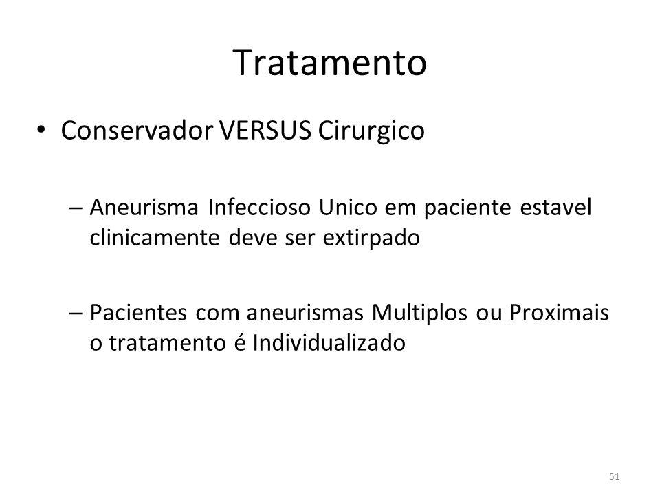 51 Tratamento • Conservador VERSUS Cirurgico – Aneurisma Infeccioso Unico em paciente estavel clinicamente deve ser extirpado – Pacientes com aneurism