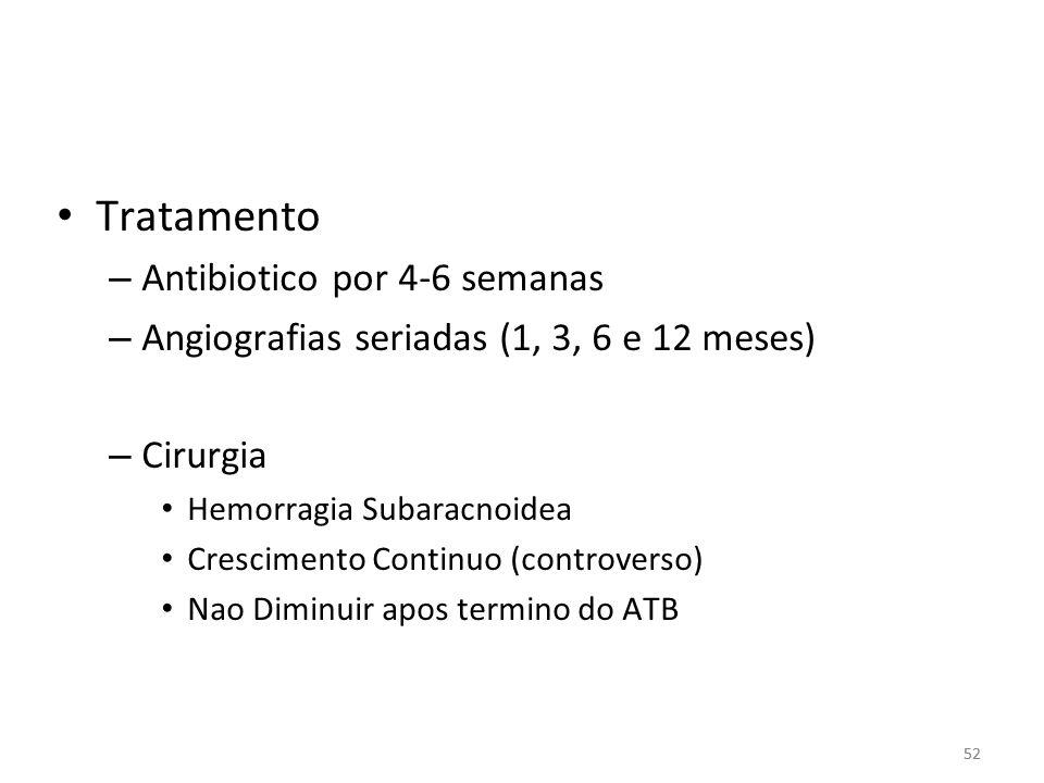 52 • Tratamento – Antibiotico por 4-6 semanas – Angiografias seriadas (1, 3, 6 e 12 meses) – Cirurgia • Hemorragia Subaracnoidea • Crescimento Continu
