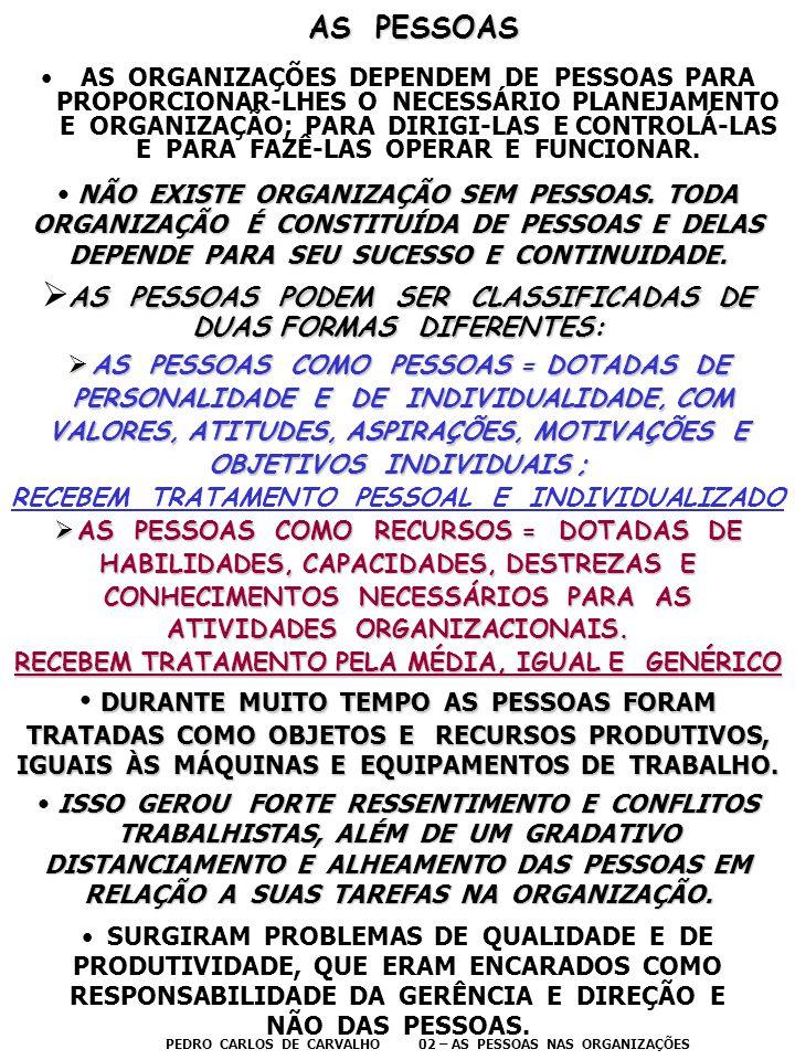 AS PESSOAS AS PESSOAS •AS ORGANIZAÇÕES DEPENDEM DE PESSOAS PARA PROPORCIONAR-LHES O NECESSÁRIO PLANEJAMENTO E ORGANIZAÇÃO; PARA DIRIGI-LAS E CONTROLÁ-