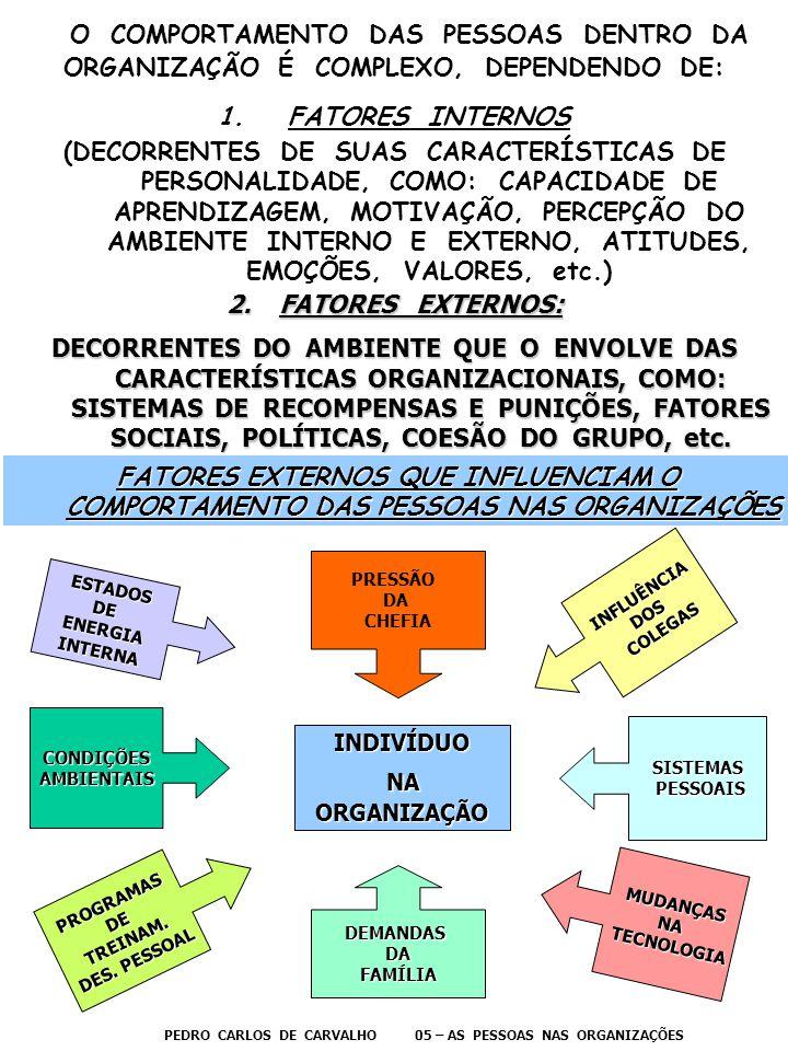 O COMPORTAMENTO DAS PESSOAS DENTRO DA ORGANIZAÇÃO É COMPLEXO, DEPENDENDO DE: 1.FATORES INTERNOS (DECORRENTES DE SUAS CARACTERÍSTICAS DE PERSONALIDADE,