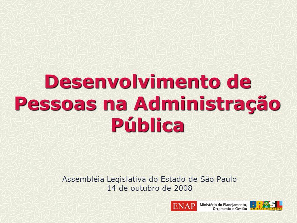 Desenvolvimento de Pessoas na Administração Pública Assembléia Legislativa do Estado de Säo Paulo 14 de outubro de 2008