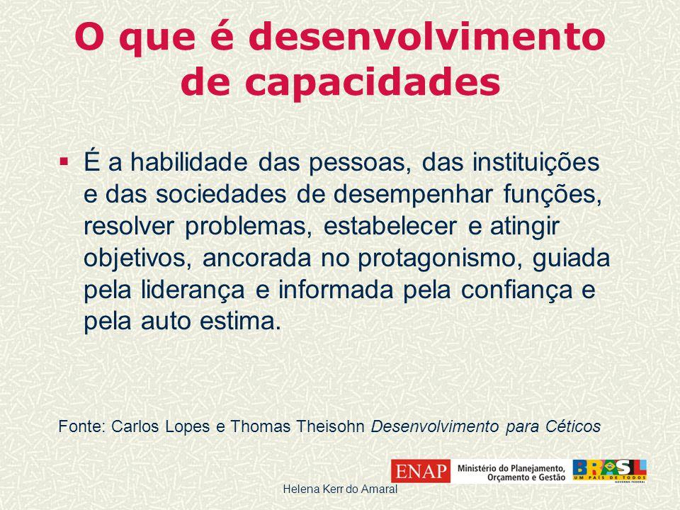 O que é desenvolvimento de capacidades  É a habilidade das pessoas, das instituições e das sociedades de desempenhar funções, resolver problemas, est
