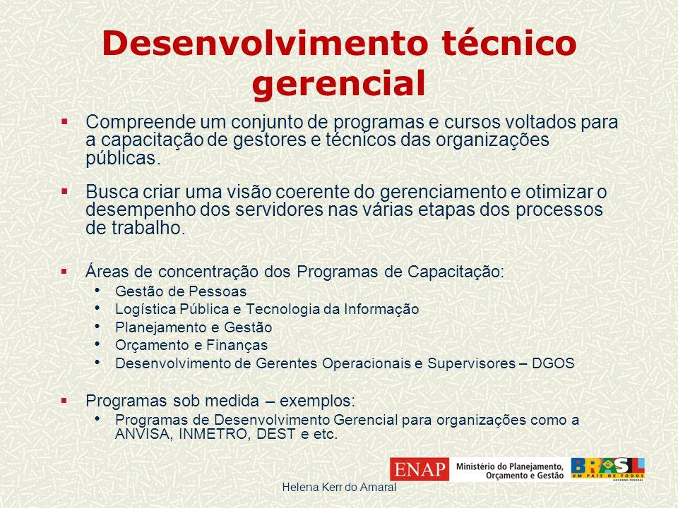 Desenvolvimento técnico gerencial  Compreende um conjunto de programas e cursos voltados para a capacitação de gestores e técnicos das organizações públicas.
