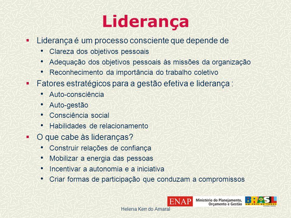 Liderança  Liderança é um processo consciente que depende de • Clareza dos objetivos pessoais • Adequação dos objetivos pessoais às missões da organi