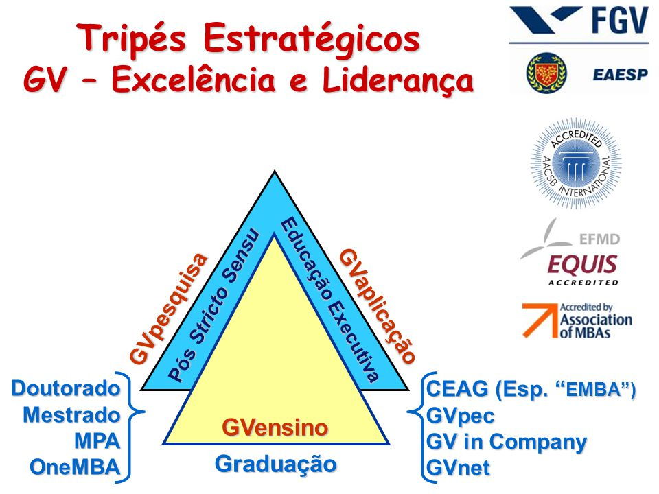 GVaplicação GVpesquisa Pós Stricto Sensu Graduação GVensino DoutoradoMestradoMPAOneMBA CEAG (Esp.