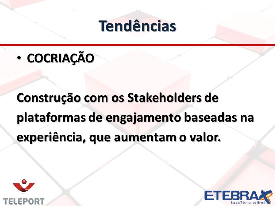 Tendências • COCRIAÇÃO Construção com os Stakeholders de plataformas de engajamento baseadas na experiência, que aumentam o valor.