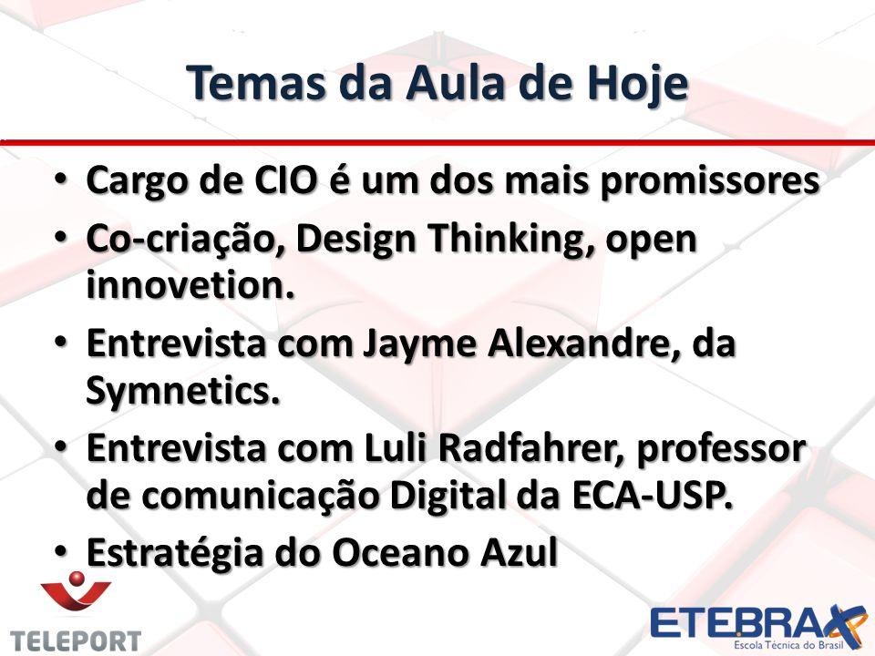 Temas da Aula de Hoje • Cargo de CIO é um dos mais promissores • Co-criação, Design Thinking, open innovetion.