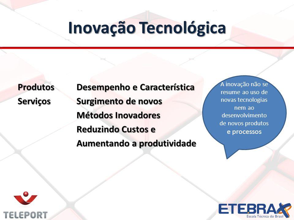 Inovação Tecnológica ProdutosDesempenho e Característica ServiçosSurgimento de novos Métodos Inovadores Reduzindo Custos e Aumentando a produtividade A inovação não se resume ao uso de novas tecnologias nem ao desenvolvimento de novos produtos e processos