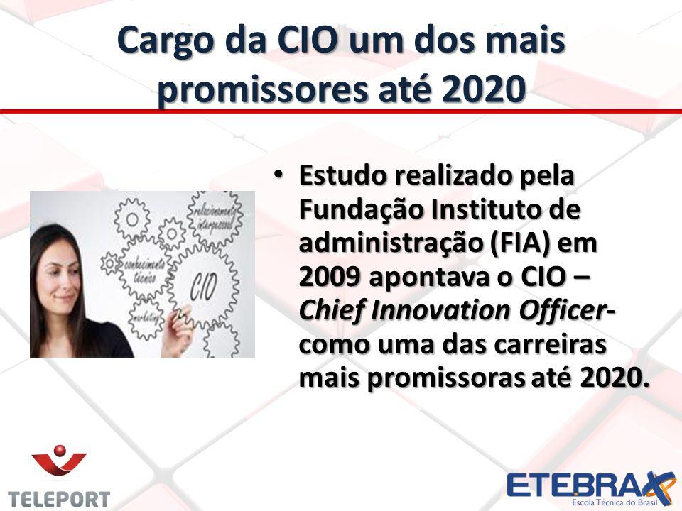 Cargo da CIO um dos mais promissores até 2020 • Estudo realizado pela Fundação Instituto de administração (FIA) em 2009 apontava o CIO – Chief Innovation Officer- como uma das carreiras mais promissoras até 2020.