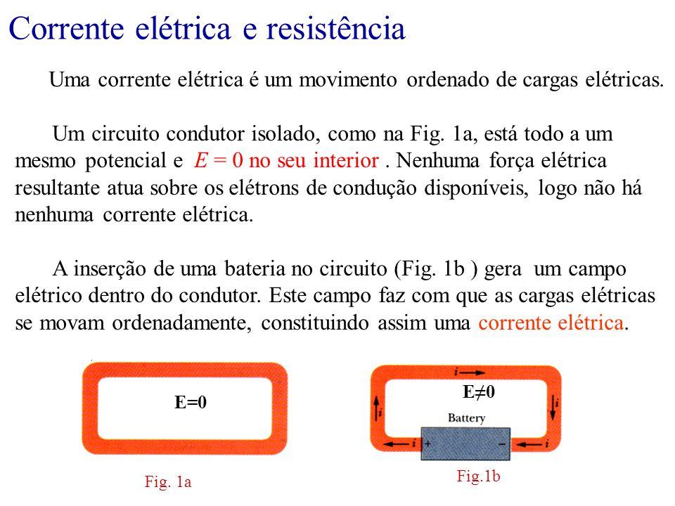 Corrente elétrica e resistência Definição de corrente: A carga que atravessa um plano em um intervalo de tempo pode ser determinada através de: Unidade de corrente: 1 Ampère = 1 C/s A corrente i tem a mesma intensidade através das seções aa', bb' e cc'.