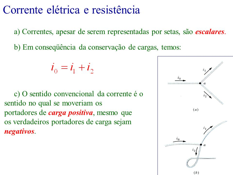 Corrente elétrica e resistência a) Correntes, apesar de serem representadas por setas, são escalares. c) O sentido convencional da corrente é o sentid