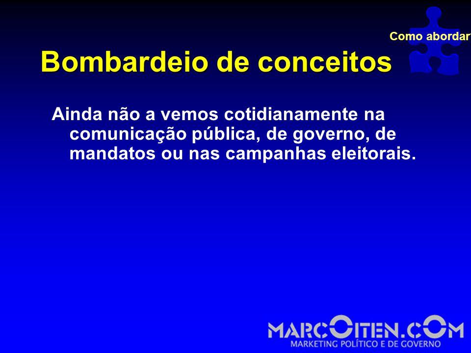 Bombardeio de conceitos Ainda não a vemos cotidianamente na comunicação pública, de governo, de mandatos ou nas campanhas eleitorais.