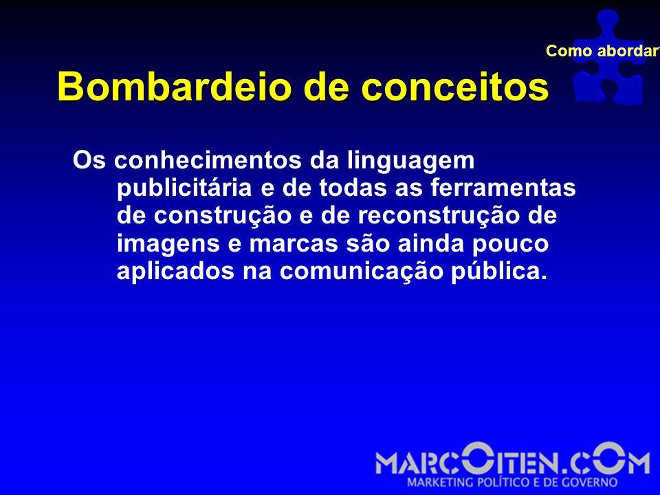 Bombardeio de conceitos Os conhecimentos da linguagem publicitária e de todas as ferramentas de construção e de reconstrução de imagens e marcas são ainda pouco aplicados na comunicação pública.