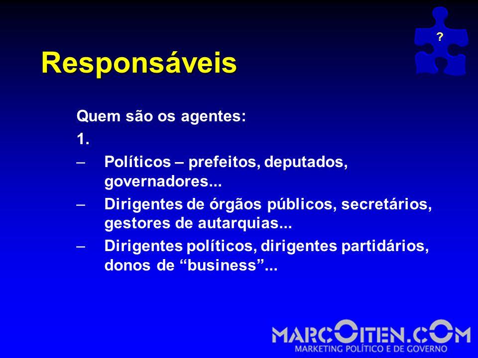 Responsáveis Quem são os agentes: 1.–Políticos – prefeitos, deputados, governadores...