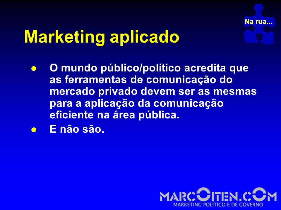 Marketing aplicado  O mundo público/político acredita que as ferramentas de comunicação do mercado privado devem ser as mesmas para a aplicação da comunicação eficiente na área pública.