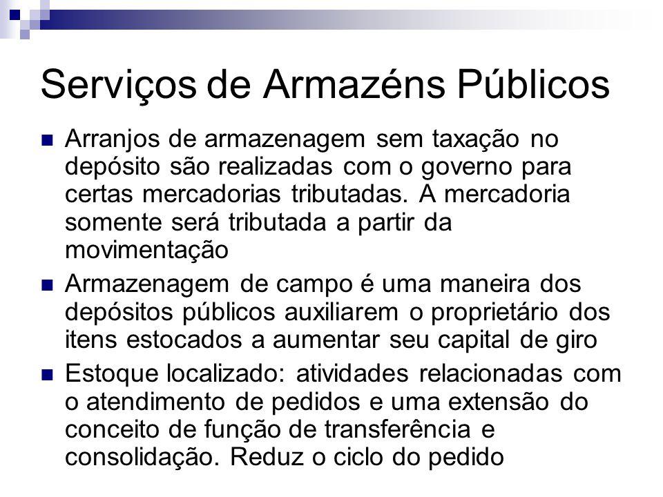 Serviços de Armazéns Públicos  Arranjos de armazenagem sem taxação no depósito são realizadas com o governo para certas mercadorias tributadas. A mer