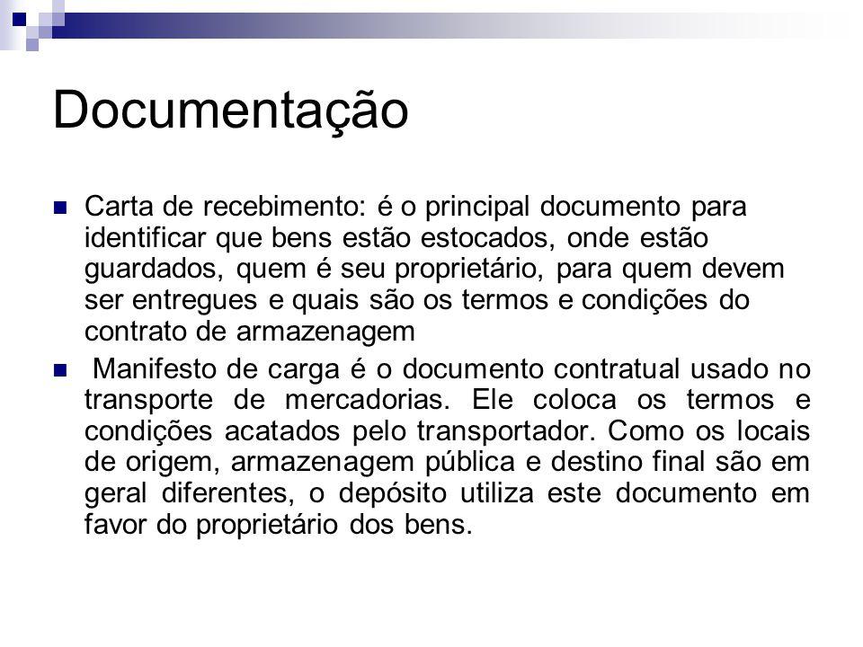 Documentação  Carta de recebimento: é o principal documento para identificar que bens estão estocados, onde estão guardados, quem é seu proprietário,