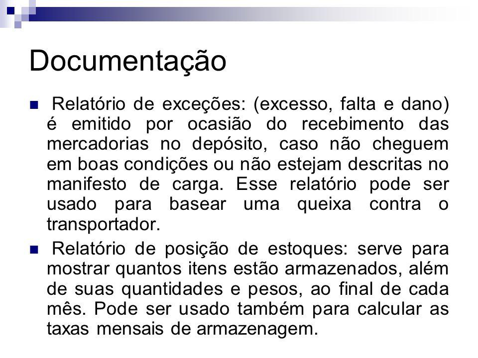Documentação  Relatório de exceções: (excesso, falta e dano) é emitido por ocasião do recebimento das mercadorias no depósito, caso não cheguem em bo
