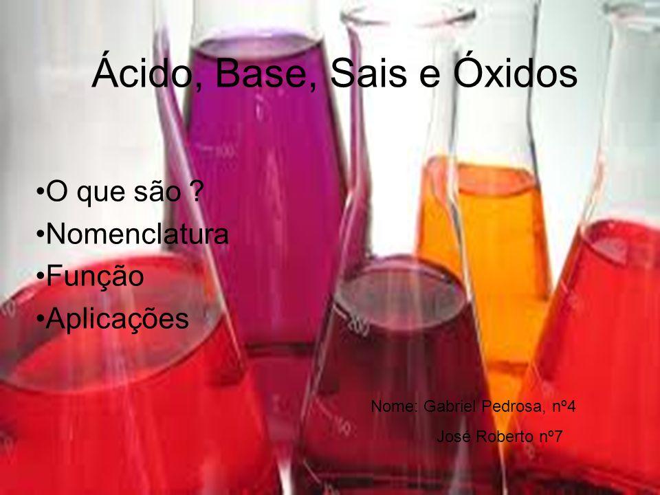 •Nomenclatura das bases •a) quando o cátion possui nox fixo •hidróxido de + cátion •Exemplo: •= Hidróxido de Potássio •b) quando o cátion não apresenta nox fixo •hidróxido de + cátion + sufixo OU hidróxido + cátion + nox em algarismo romano •Exemplos: •= hidróxido de ferro II ou hidróxido ferroso •= hidróxido de ferro III ou hidróxido férrico