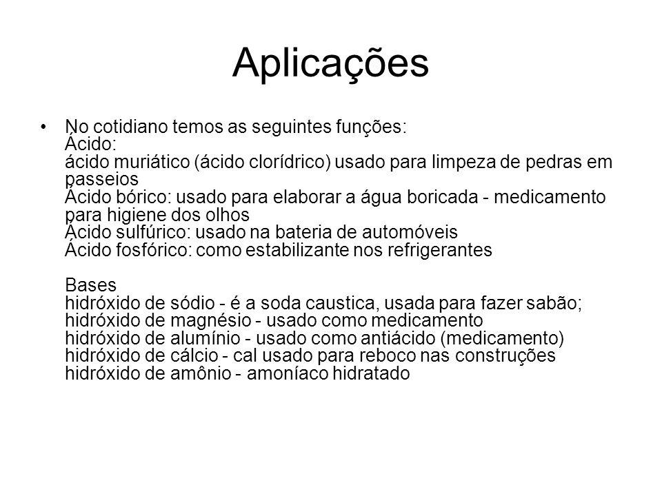 Aplicações •No cotidiano temos as seguintes funções: Ácido: ácido muriático (ácido clorídrico) usado para limpeza de pedras em passeios Ácido bórico: