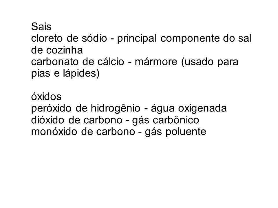 Sais cloreto de sódio - principal componente do sal de cozinha carbonato de cálcio - mármore (usado para pias e lápides) óxidos peróxido de hidrogênio