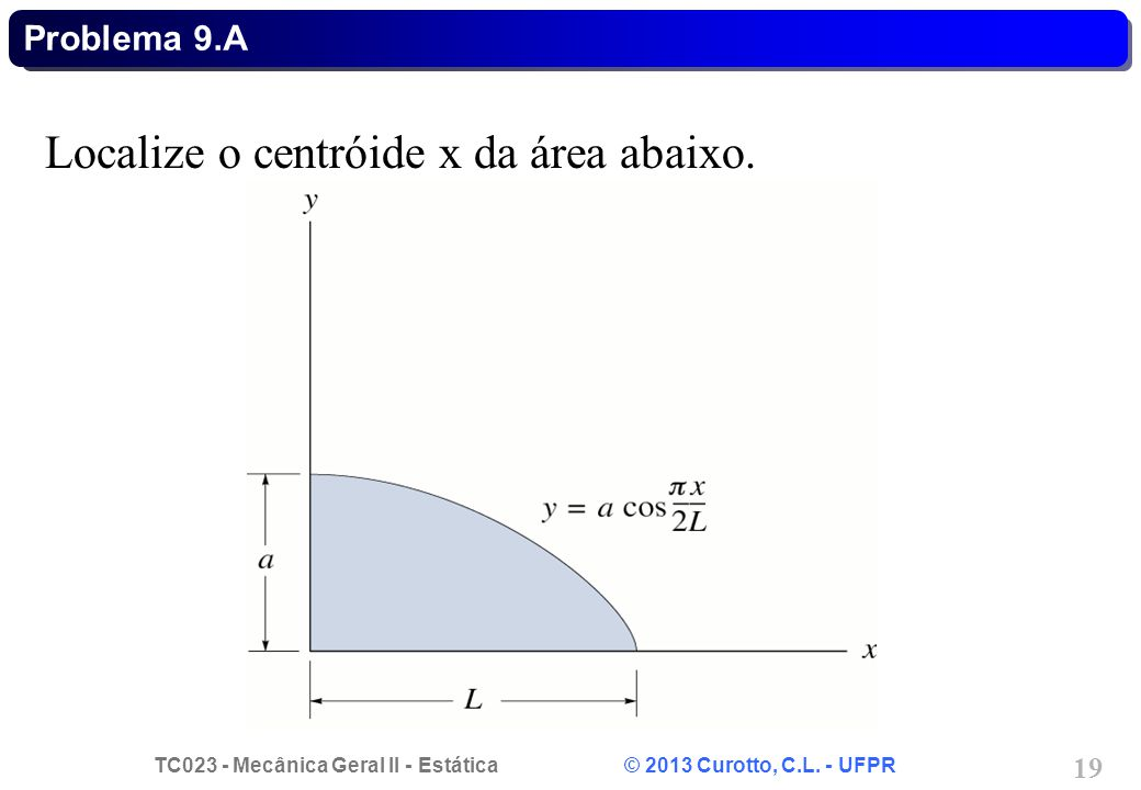 TC023 - Mecânica Geral II - Estática © 2013 Curotto, C.L. - UFPR 19 Localize o centróide x da área abaixo. Problema 9.A